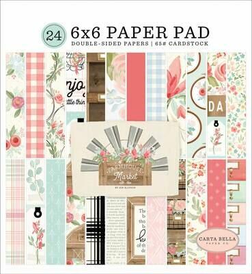 Carta Bella Double-Sided Paper Pad 6X6 24/Pkg Farmhouse Market, 12 Designs/2 Each