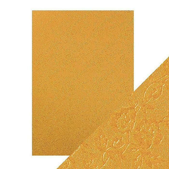 Craft Perfect - Speciality Card - Luxury Embossed - Honey Gold Roses - A4 - 5 Pack - 9829E