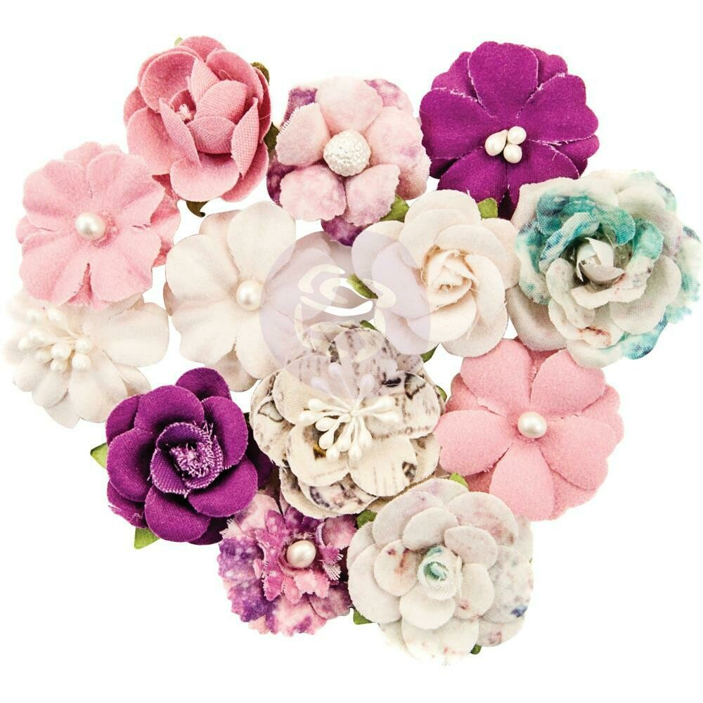 Prima Marketing Mulberry Paper Flowers - First Eclipse/Moon Child, 12/Pkg