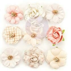 Prima Marketing Mulberry Paper Flowers 12th Night/Lavender Frost, 9/Pkg