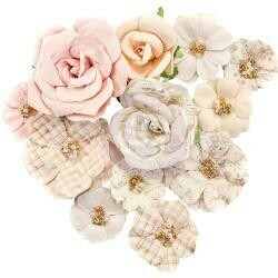 Prima Marketing Mulberry Paper Flowers Beautiful Frost/Lavender Frost, 12/Pkg