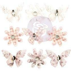 Prima Marketing Mulberry Paper Flowers Pale Wind/Lavender Frost, Vellum, 9/Pkg