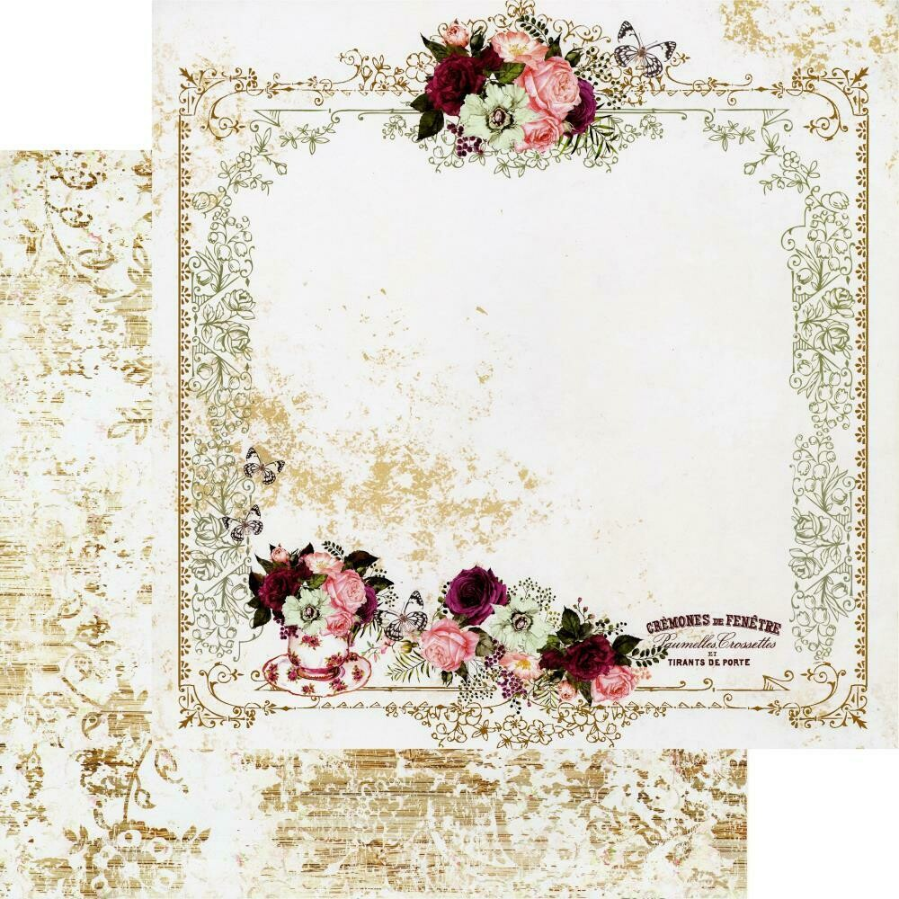 """Prima Marketing PRETTY MOSAIC COLLECTION 12""""X12"""" SHEET - TEA AND ROSES - 12"""" X 12.5"""", FOIL DETAILS"""