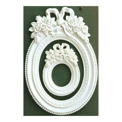 Prima Marketing Memory Hardware Resin Frames 2/Pkg - Blanc Fleur Oval