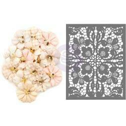 Prima Marketing Mulberry Paper Flowers with Stencil -  Garden Petals/Lavender Frost, 15/Pkg