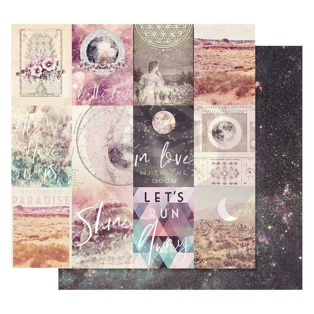 """Prima Marketing Moon Child Foiled Dbl-Sided Cardstock 12""""X12 In Love With The Moon"""