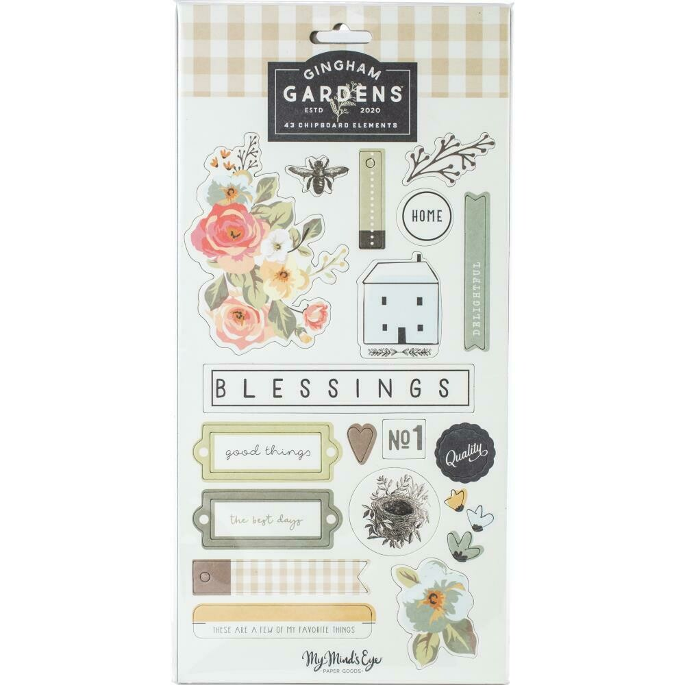 "Gingham Gardens Chipboard Elements 6""X12"" 2/Pkg"