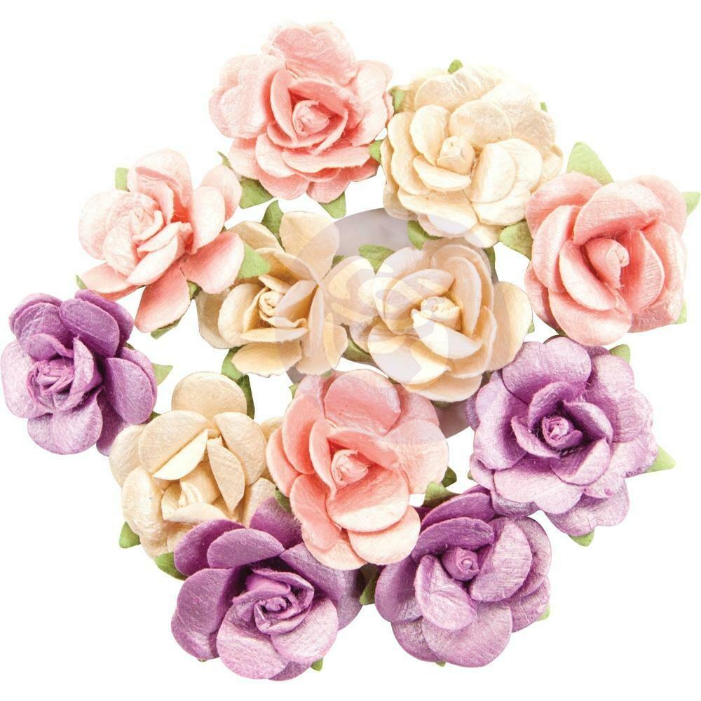 Prima Marketing Mulberry Paper Flowers Gamma Ray/Moon Child, 12/Pkg