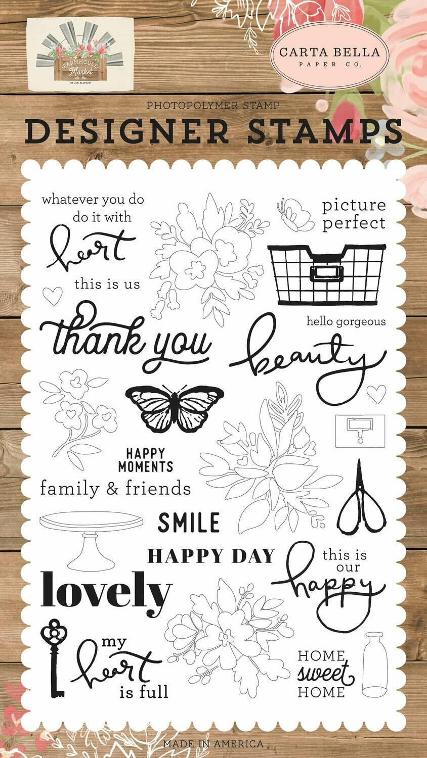 Carta Bella Stamps Happy Moments, Farmhouse Market