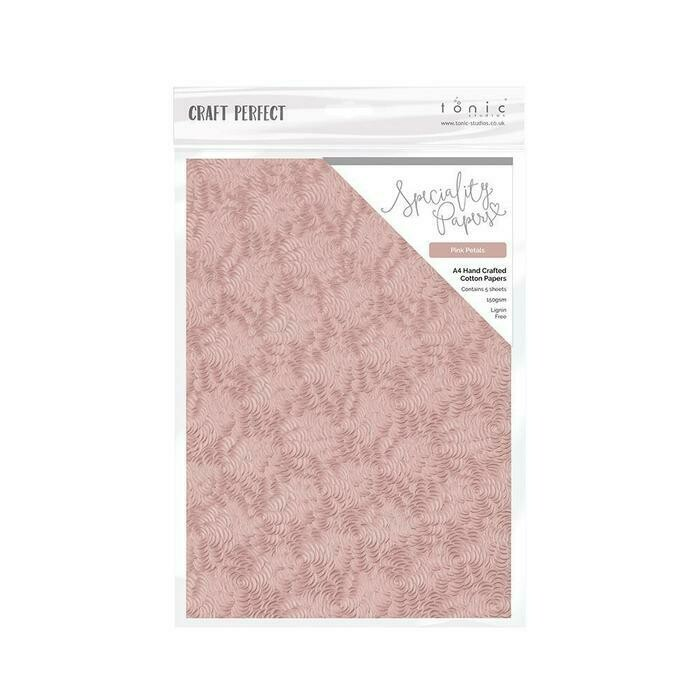 Craft Perfect - Hand Crafted Cotton Paper - Pink Petals - A4(5/PK) - 9884e