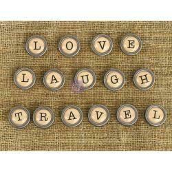 Prima Marketing Mechanicals Metal Embellishments Words #1 - Love, Travel & Laugh