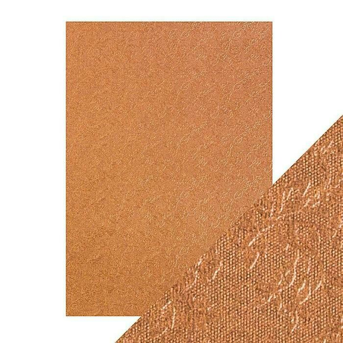 Craft Perfect - Luxury Embossed Card - Copper Roses - A4 (5/PK)