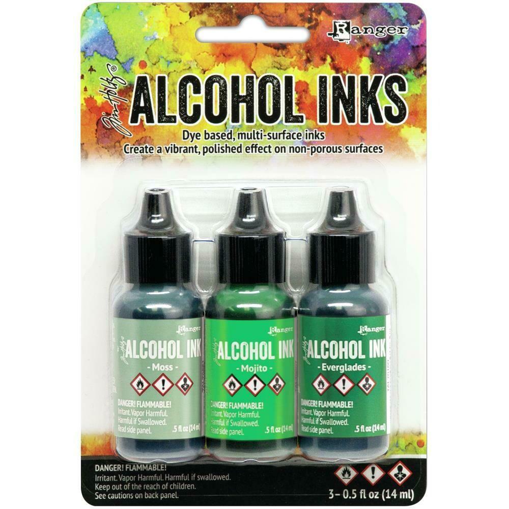 Tim Holtz Alcohol Ink .5oz 3/Pkg Mini/Green Spectrum  MOSS, MOJITO, EVERGLADES