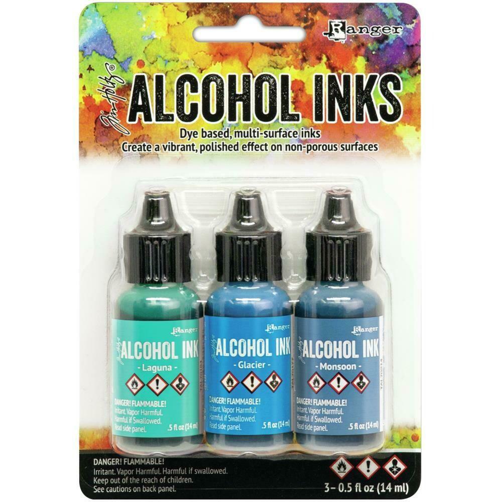 Tim Holtz Alcohol Ink .5oz 3/Pkg TEAL/BLUE SPECTRUM LAGUNA, GLACIER, MONSOON