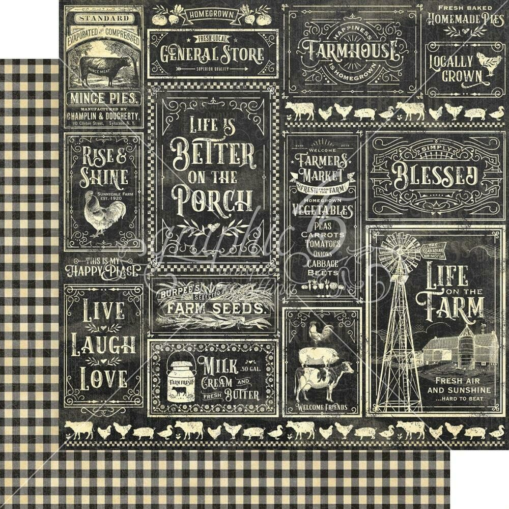"Graphic 45 Farmhouse Double-Sided Cardstock 12""X12"" General Store"