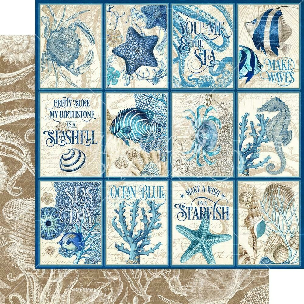 """Graphic 45 Ocean Blue Double-Sided Cardstock 12""""X12"""" Cozumel"""