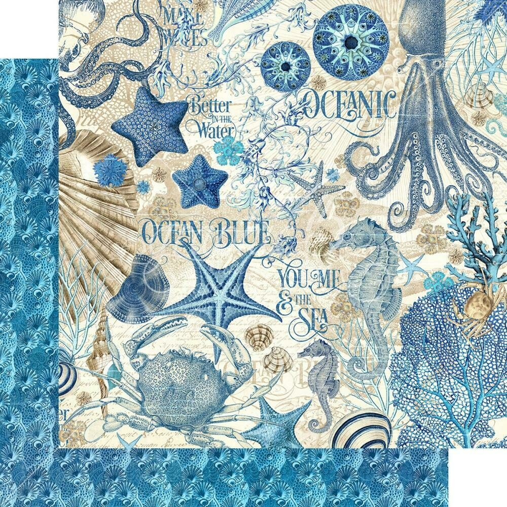 """Graphic 45 Ocean Blue Double-Sided Cardstock 12""""X12"""" Ocean Blue"""