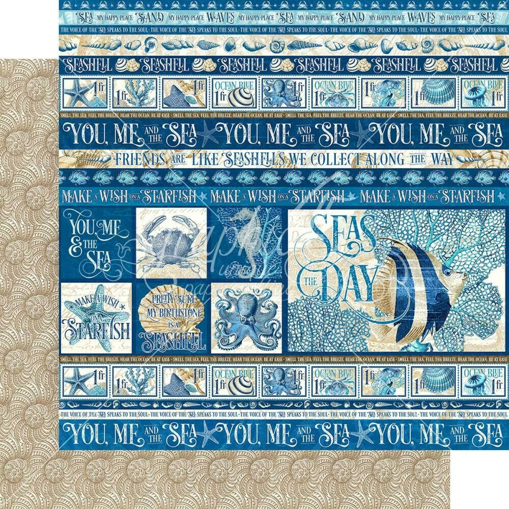 """Graphic 45 Ocean Blue Double-Sided Cardstock 12""""X12"""" Corfu"""