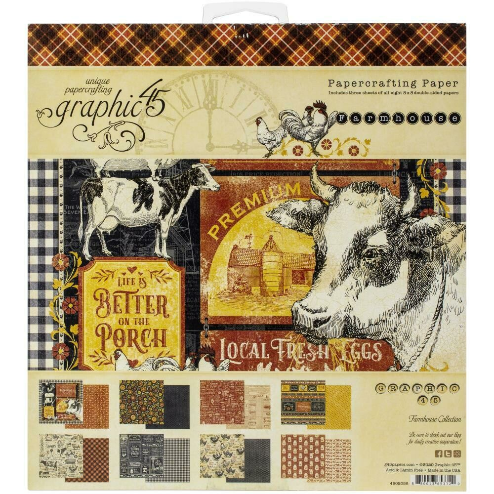 """Graphic 45 Double-Sided Paper Pad 8""""X8"""" 24/Pkg Farmhouse Market collection"""