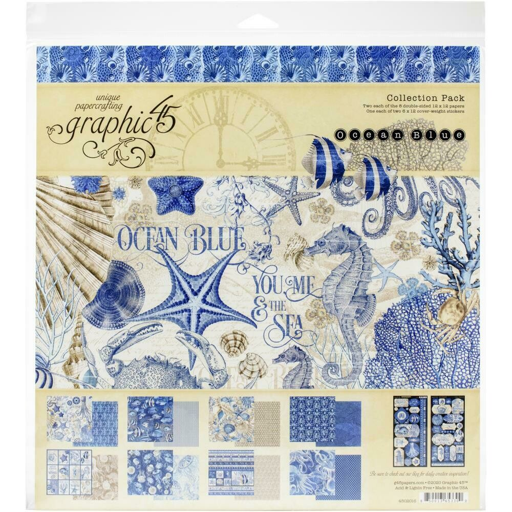 """Graphic 45 Collection Pack 12""""X12""""  Ocean Blue"""