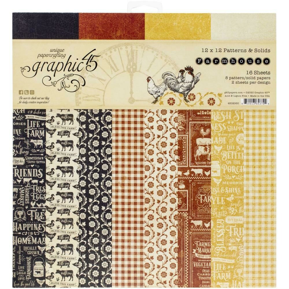 "Graphic 45 Double-Sided Paper Pad 12""X12"" 16/Pkg Farmhouse patterns and solids"