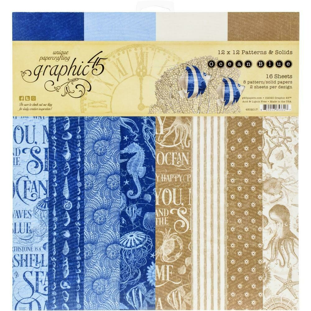 """Graphic 45 Double-Sided Paper Pad 12""""X12"""" 16/Pkg Ocean Blue Patterns and Solids"""