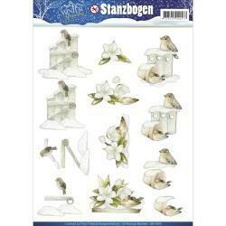 Find It Trading Precious Marieke Punchout Sheet Birds W/Gate & Flower, Winter Wonderland