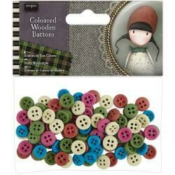 Santoro's Gorjuss Tweed Wooden Buttons 100/Pkg Assorted Colors