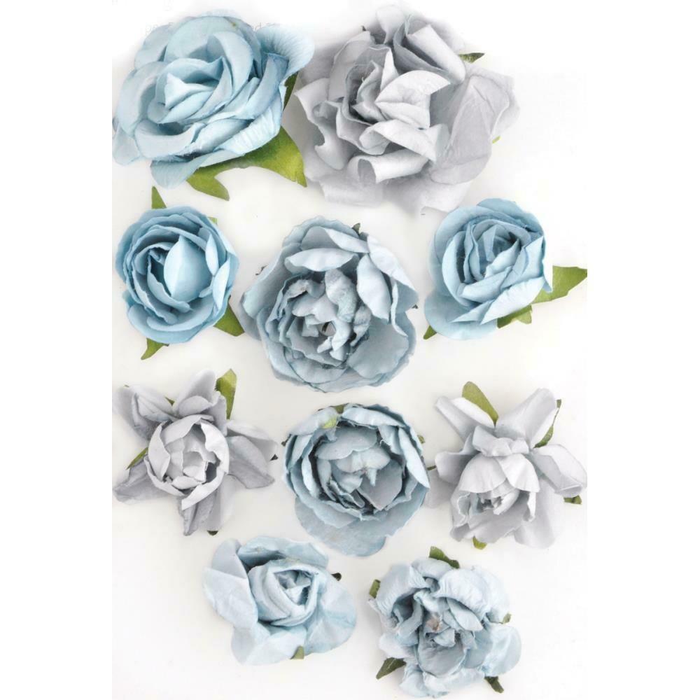 "Kaisercraft Paper Blooms 10/Pkg Iceberg, 1"" - 1.5"""