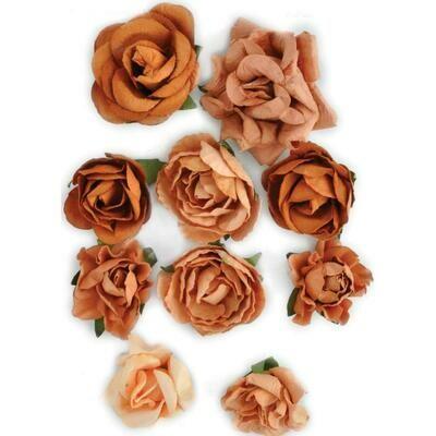 Kaisercraft Paper Blooms 10/Pkg Terra Cotta, 1