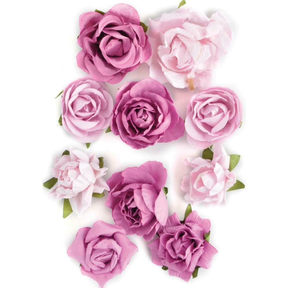 """Kaisercraft Paper Blooms 10/Pkg Fuchsia, 1"""" - 1.5"""""""
