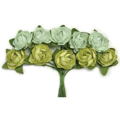 Kaisercraft Mini Paper Blooms Flowers W/Wire Stem 10/Pkg Olive, .5