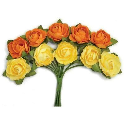 Kaisercraft Mini Paper Blooms Flowers W/Wire Stem 10/Pkg Sunset, .5