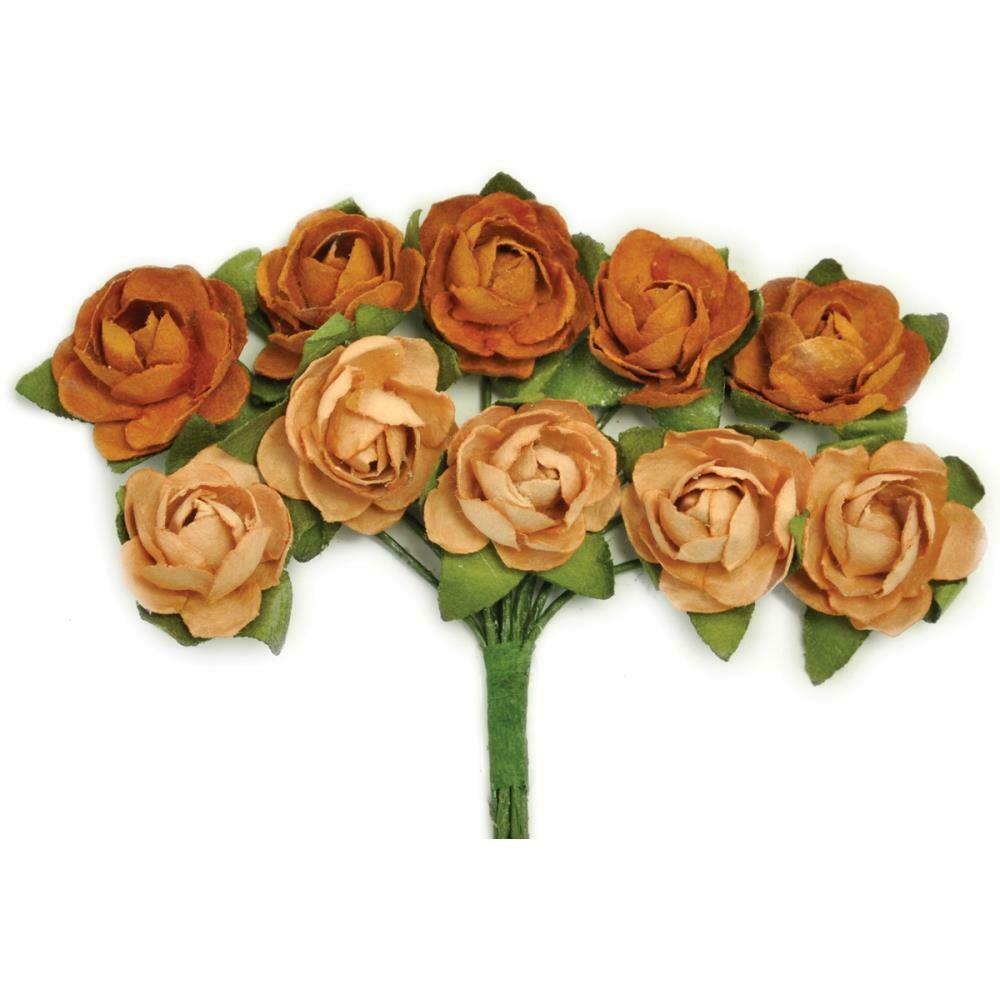 "Kaisercraft Mini Paper Blooms Flowers W/Wire Stem 10/Pkg Terra Cotta, .5"""
