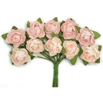 Kaisercraft Mini Paper Blooms Flowers W/Wire Stem 10/Pkg Fairy Floss, .5