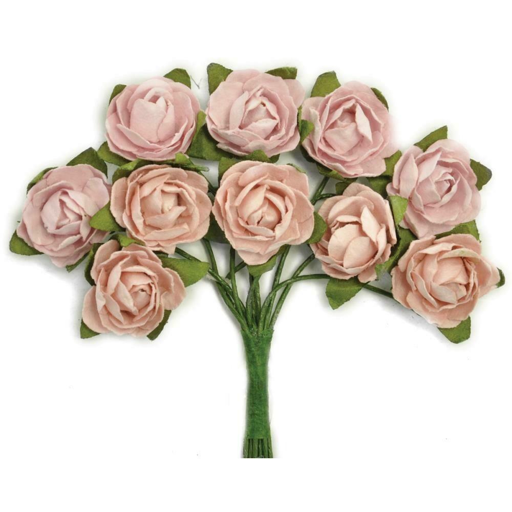 "Kaisercraft Mini Paper Blooms Flowers W/Wire Stem 10/Pkg Dusty Pink, .5"""