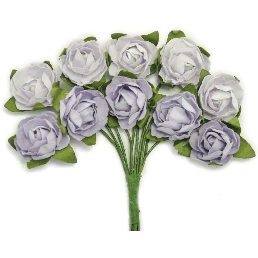 "Kaisercraft Mini Paper Blooms Flowers W/Wire Stem 10/Pkg Misty, .5"""