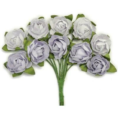 Kaisercraft Mini Paper Blooms Flowers W/Wire Stem 10/Pkg Misty, .5