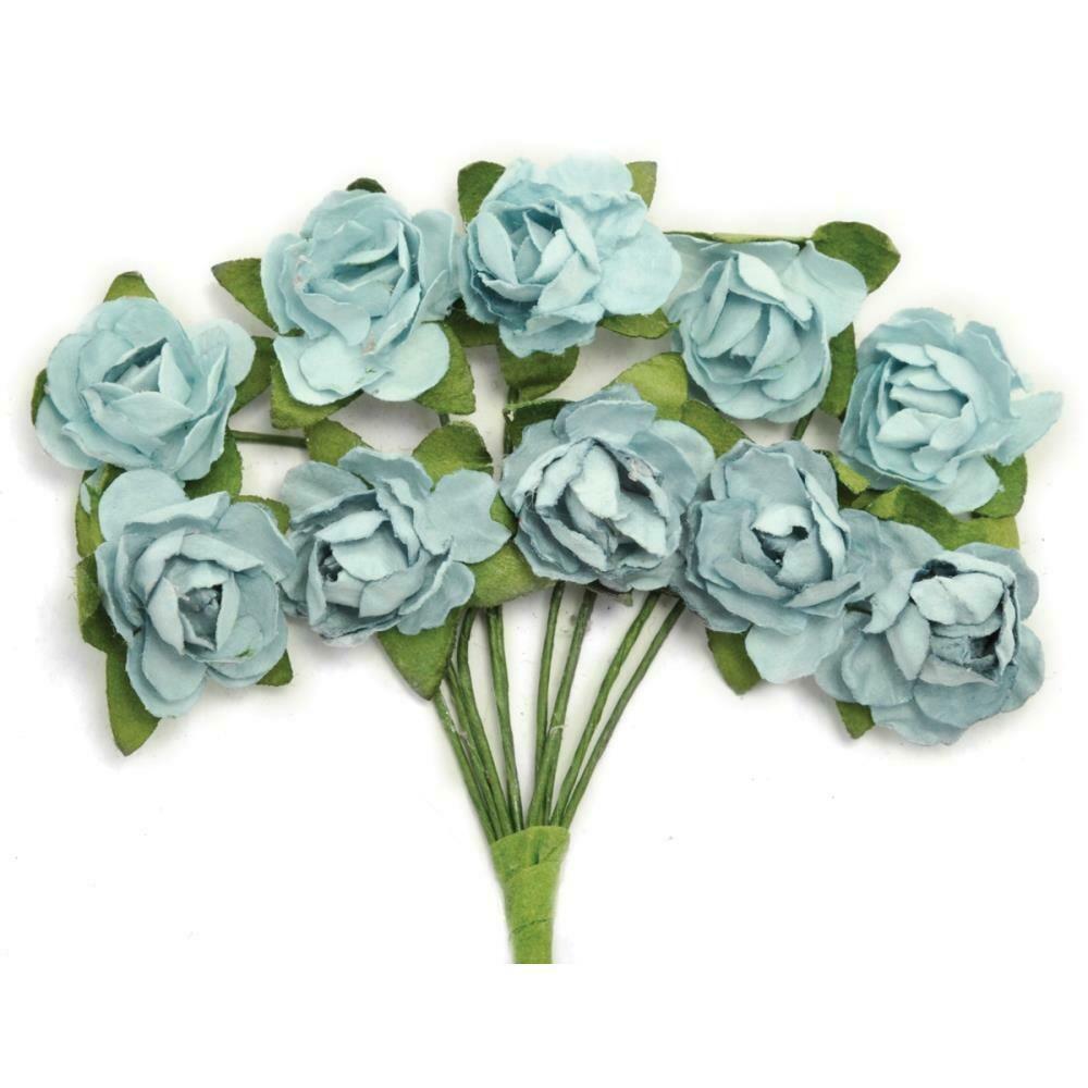 "Kaisercraft Mini Paper Blooms Flowers W/Wire Stem 10/Pkg Iceberg, .5"""