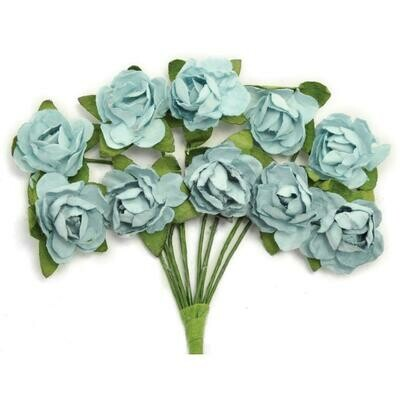 Kaisercraft Mini Paper Blooms Flowers W/Wire Stem 10/Pkg Iceberg, .5