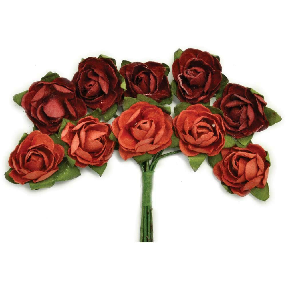 "Kaisercraft Mini Paper Blooms Flowers W/Wire Stem 10/Pkg Ruby, .5"""