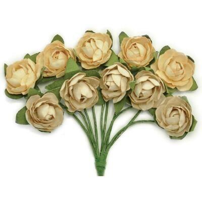 Kaisercraft Mini Paper Blooms Flowers W/Wire Stem 10/Pkg Honey, .5