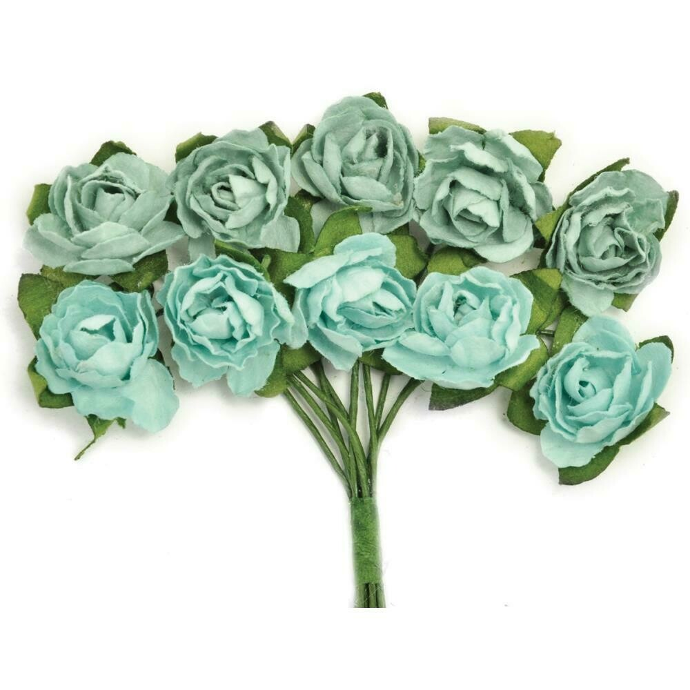 Kaisercraft Mini Paper Blooms Flowers W/Wire Stem 10/Pkg Sage, .5""