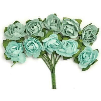 Kaisercraft Mini Paper Blooms Flowers W/Wire Stem 10/Pkg Sage, .5