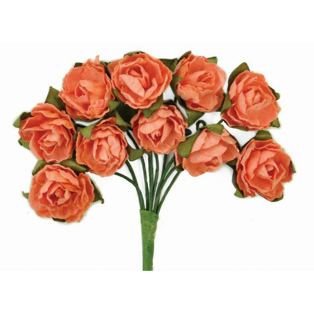 Kaisercraft Mini Paper Blooms Flowers W/Wire Stem 10/Pkg Coral, .5""