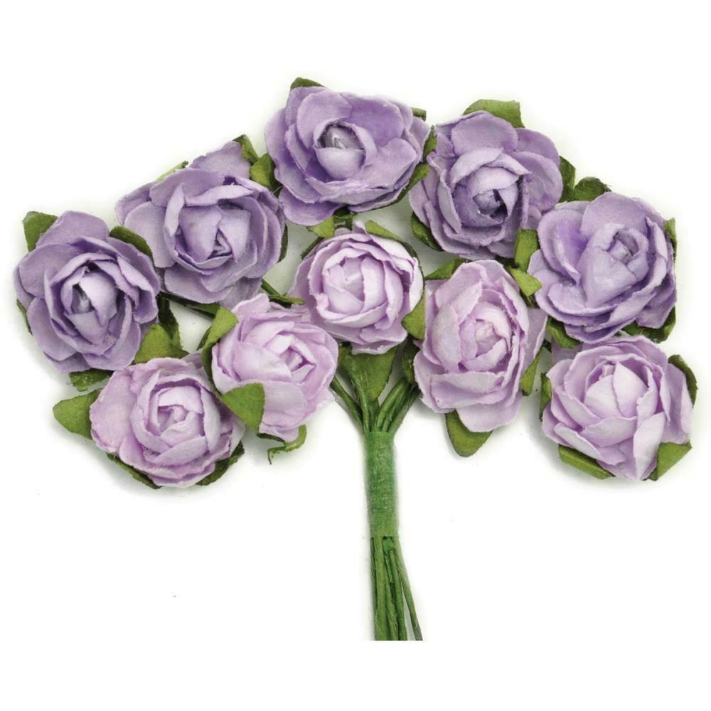 "Kaisercraft Mini Paper Blooms Flowers W/Wire Stem 10/Pkg Amethyst, .5"""