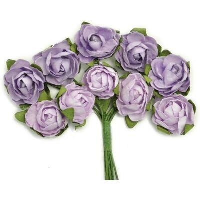 Kaisercraft Mini Paper Blooms Flowers W/Wire Stem 10/Pkg Amethyst, .5