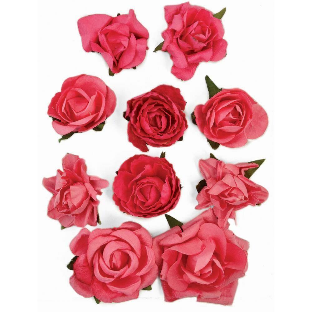 """Kaisercraft Paper Blooms 10/Pkg Hot Pink, 1"""" - 1.5"""""""