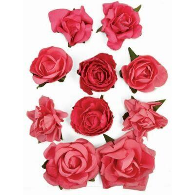 Kaisercraft Paper Blooms 10/Pkg Hot Pink, 1