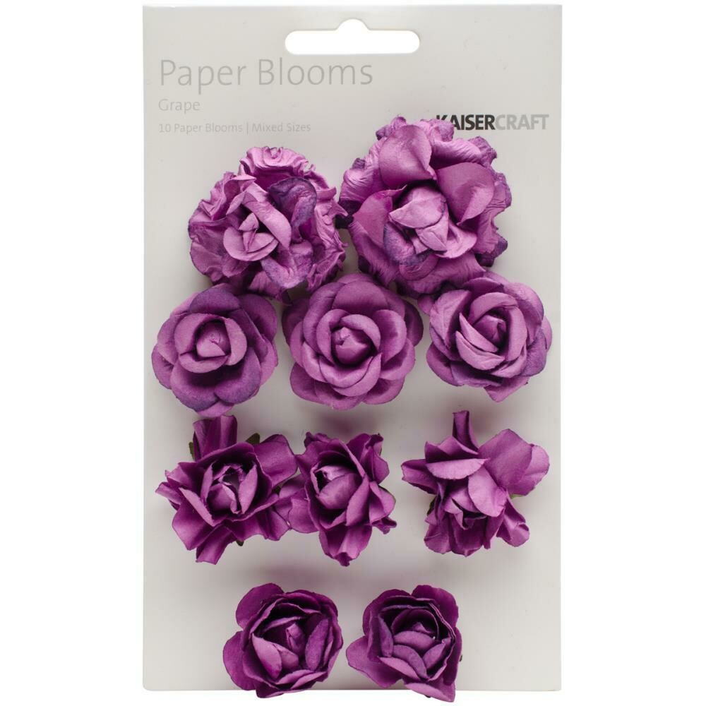 """Kaisercraft Paper Blooms 10/Pkg Grape, 1"""" - 1.5"""""""